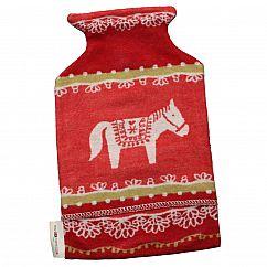 Wärmflasche mit Bezug Dala-Pferd rot 2 Liter