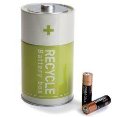 Batterie Box Recycle von Monkey Business - Recycling Batterie Blechdose grün.