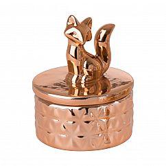 Mini Schmuckdose Füchsin / Fuchs, Keramik gold - RICE Denmark