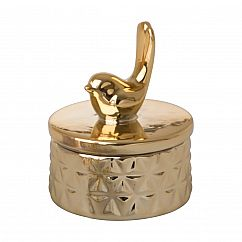 Mini Schmuckdose Vogel, Keramik gold - RICE Denmark