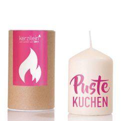 Kerze flämmchen - Pustekuchen - Stumpenkerze mit rosa Herz - Kerzilein